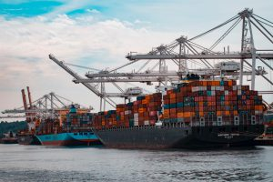 International shipping doc with cargo ships for a globalized supply chain