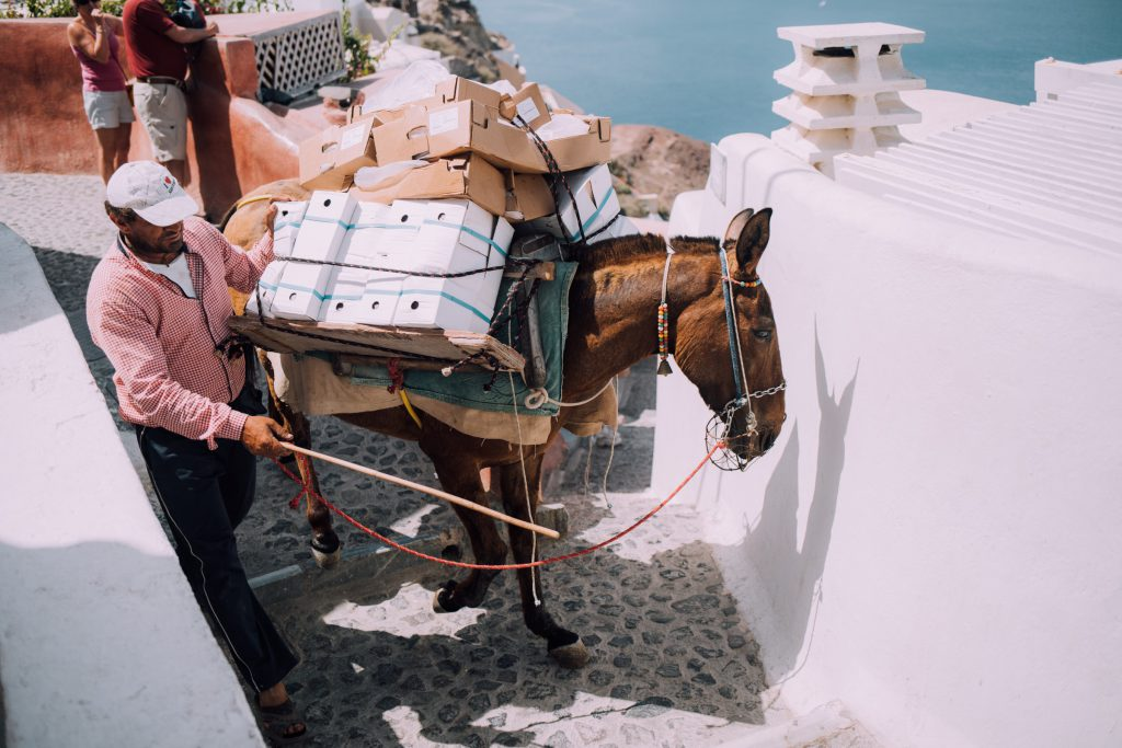 Man making just in time delivery on horse